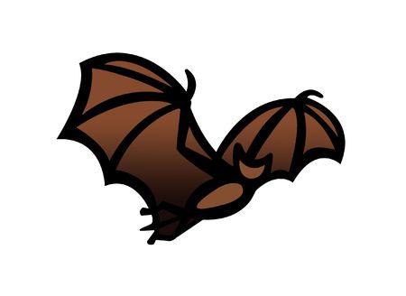Simple drawing illustration clipart of a bat in flight,great Halloween symbol illustration