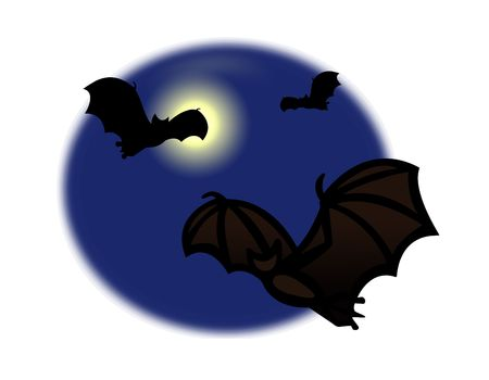 Simple drawing illustration clip art of bats flying in the full moon lite sky, great Halloween symbol. illustration