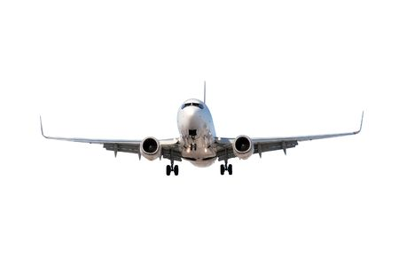 TAKEOFF: Large commercial airplane flying overhead either after departure or landing isolated on white.