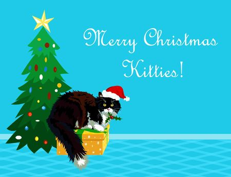 calico: Christmas theme realistic calico cat with mistletoe in its mouth wishing a Merry Christmas to all the kitties. Funny cartoon making perfect greeting card. Stock Photo