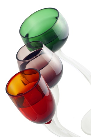Three hand crafted beautiful colorful cocktail glasses. Stock Photo - 8908012