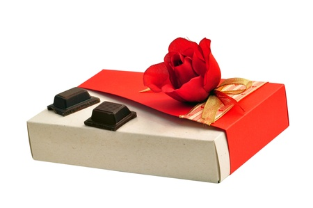 carboard box: Valentines day gift: fabric red rose recycled carboard gift box with two yummy pieces of chocolate