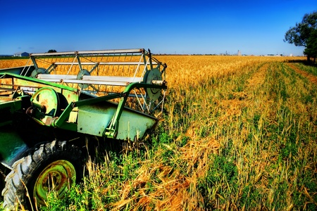 Old rusted combine in a half harvested wheat field on a bright sunny day. Stock Photo - 9154125