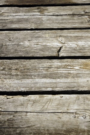 Perspective of old exterior rough wood plank deck,great background and texture. photo