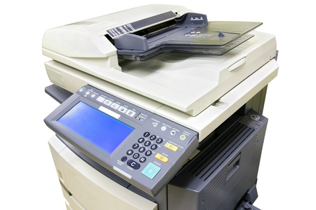 photocopier: Modern photocopier with digital display isolated on white background