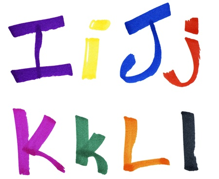 Very large handwritten font, letters I J K L in capital and small cases, made with colorful ink markers and paper fibers visible. photo