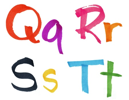 Very large handwritten font, letters Q R S T in capital and small cases, made with colorful ink markers and paper fibers visible. photo