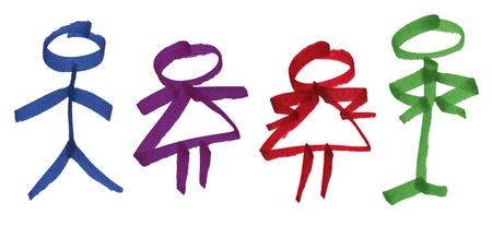 silhouette femme: Main drawn permanent color� grand encre marqueur stick figures de symboles m�les et femelles g�n�riques et amusants couple de caract�res avec attitude, grand d�tails des fibres du journal.