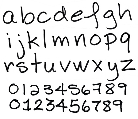 Large size hand written lower case alphabet and numbers made with black ink permanent marker, great details, paper fibers visible.