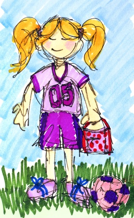 Original sketch of a happy little girl with lunchbox ready to play football or soccer with her ball on the field. Stock Photo - 9466268