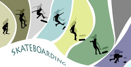 falling out: Silhouette cut-outs with shadows of a teenage skateboarder missing his jump on a cool and fun background