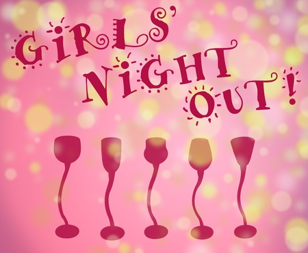 Girls night out fun type with light filled background and row of cocktail glasses all in pink shades with golde lights