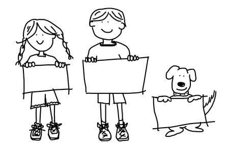 simple: Large cartoon characters: simplistic black line drawings of two smiling kids and their dog holding up blank poster board Stock Photo
