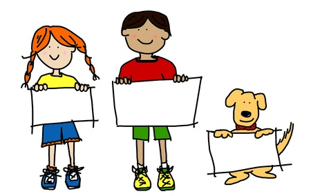 line: Large cartoon characters: simplisticand colorful line drawings of two smiling kids and their dog holding up blank poster board Stock Photo
