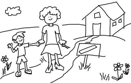 simple girl: Large childlsh cartoon characters: Mother and son happy in front of their new house with blank sign by the road