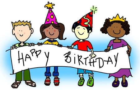 Large childlike cartoon characters: little kids, boys and girls, holding a very big blank banner and wearing party hats. Stock Photo - 9659589
