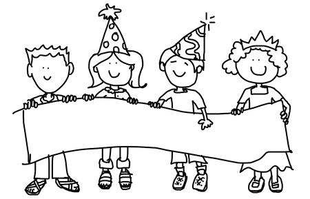 birthday party kids: Large childlike cartoon characters: little kids, boys and girls, holding a very big blank banner and wearing party hats.