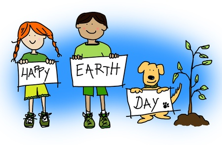 warming: Green or ecological concept with large childlike cartoon of boy and girl kids and their dog holding up HAPPY EARTH DAY sign