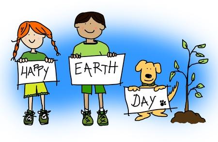tierra caricatura: Verde o concepto ecol�gico con gran caricatura infantil de ni�os de los ni�os y ni�as y su perro celebraci�n de d�a de la tierra feliz firmar Foto de archivo