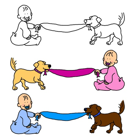 Cartoon illustration of baby boy or girl and dog pulling the blanket, with room for the message or announcement, choice of theme colors or blank for more options. Stock Illustration - 9659596