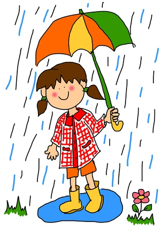 rain cartoon: Large childlike cartoon character: little girl with a big smile holding an umbrella and playing in the rain by stepping into a puddle with her rubber boots. Stock Photo