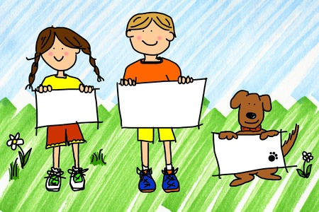 communication: Cartoon illustration of boy, girl, and dog with blank sign on real ink marker doodle of sky and grass.