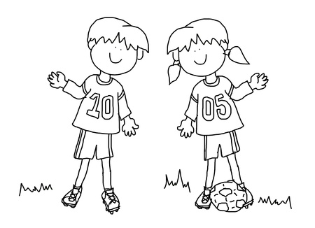 girl: Fun boy and girl cartoon outline playing soccer or football in their team uniform (large format). Stock Photo
