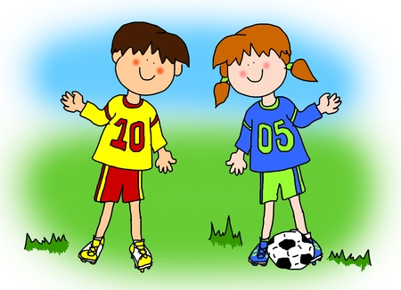 soccer field: Fun boy and girl cartoon outline playing soccer or football in their team uniform (large format). Stock Photo