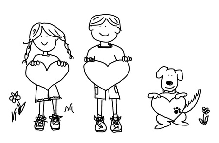 sketch out: Fun boy, girl and dog cartoon outline holding blank heart shape signs.