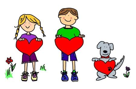Fun boy, girl and dog cartoon outline holding blank heart shape signs. Stock Photo - 9729420