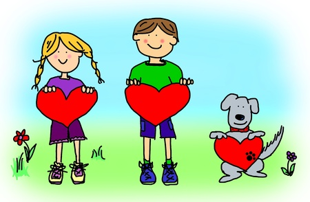 love cartoon: Fun boy, girl and dog cartoon outline holding blank heart shape signs.