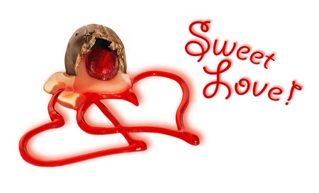Fun Valentines day or love card with two red gel heart shapes leaking out of an opened cherry milk chocolate candy on white background with shadows. photo
