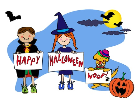 happy kids: Fun cartoon characters disguised in their Halloween costume of Dracula a with and the dog is a clown wishing you a happy halloween