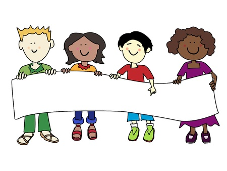 Multicultural cartoon kids holding a very large white banner ready for your text.