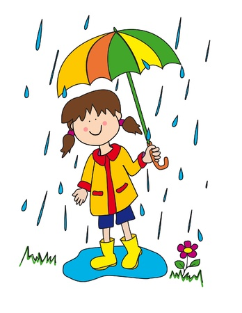 Large childlike cartoon character: little girl with a big smile holding an umbrella and playing in the rain by stepping into a puddle with her rubber boots. Vector