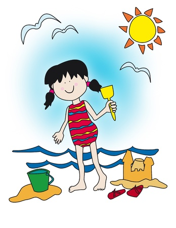 Large childlike cartoon character: little girl with a big smile playing at the beach, building sand castle.