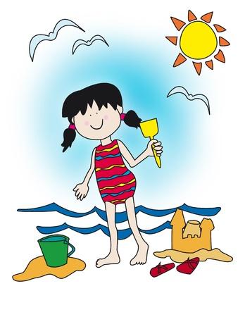 ni�as ba�andose: Gran personaje infantil: ni�a con una gran sonrisa jugando en la playa, construir castillos de arena. Vectores