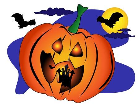 Halloween scene with a big Jack OLantern pumpkin with a spooky castle and bats inside. Vector
