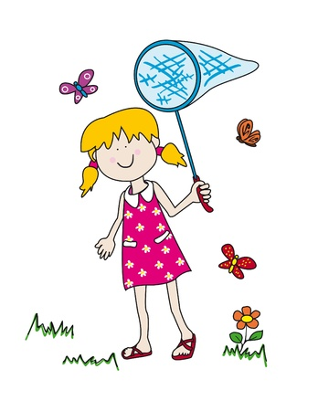 Large childlike cartoon character: little girl with a big smile holding a butterfly net and having fun tryong to catch them 일러스트