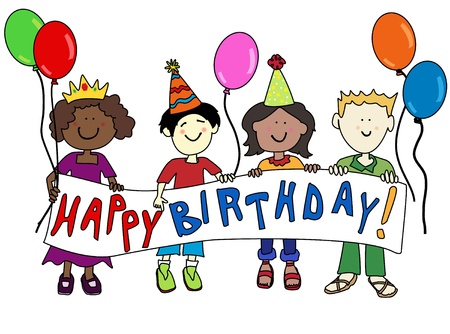 Happy multicultural cartoon kids holding a Happy Birthday banner Vectores