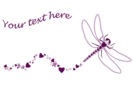 Dragonfly made of heart shapes with heart trailing