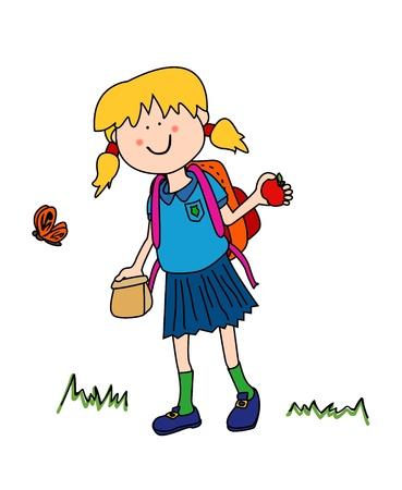 Son vacaciones es tiempo de volver a la escuela: personaje de dibujos animados de niña en uniforme que se remonta a la escuela con su bolsa de almuerzo, apple y mochila. Ilustración de vector