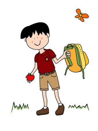 Vacations are over it is Back To School time: little boy cartoon character in uniform going back to school with his apple and backpack. Vettoriali