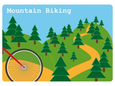 Mountain biking sport illustration with front red wheel of a bicycle about to go down a steep hill in a park.