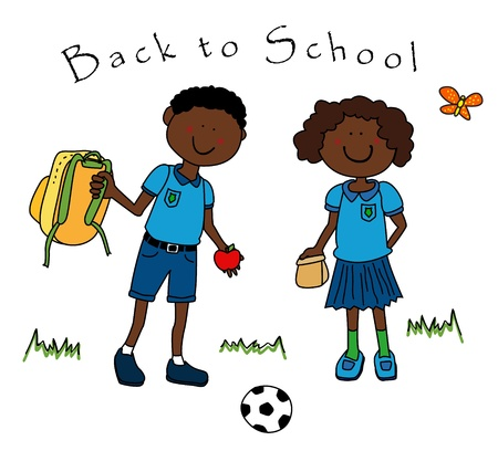 school backpack: Back to school: couple of black guys, a boy and a girl, dressed in their school uniform and going back to school.