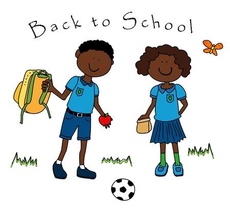 school girl uniform: Torna a scuola: coppia di ragazzi neri, un ragazzo e una ragazza, vestito in loro uniforme a scuola e tornare a scuola.