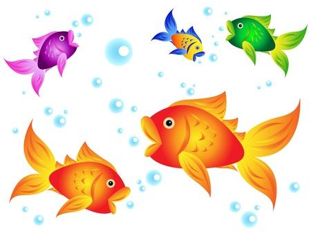 Leuke en kleurrijke zeedieren: goudvis met andere kleurrijke opties met blauwe bubbels.