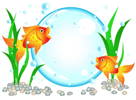 rock bottom: Fun cartoon goldfish advertisement illustration