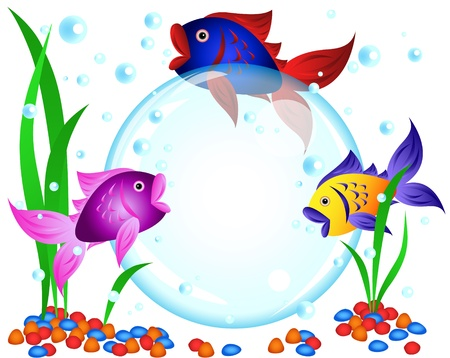 rock bottom: Fun cartoon colorful fish advertisement illustration