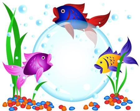 Fun cartoon colorful fish advertisement illustration